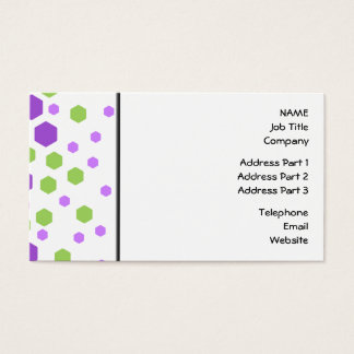 Purple and Green Hexagon Spots. Business Card