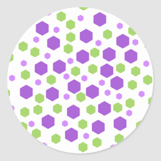 Purple and Green Hexagon Spots Round Stickers