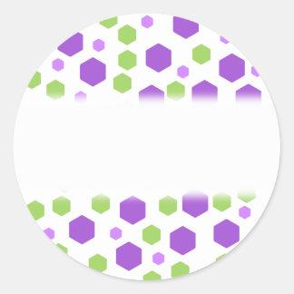 Purple and Green Hexagon Spots. Round Sticker