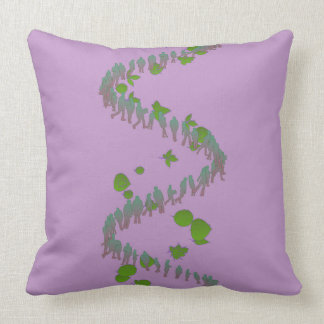Purple and Green Human Spiral Pillow