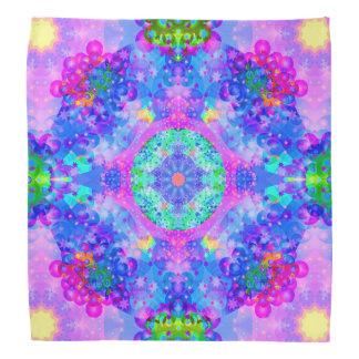 Purple and Green Kaleidoscope Fractal Art Head Kerchief