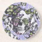 Purple and green lace butterfly skull case coaster