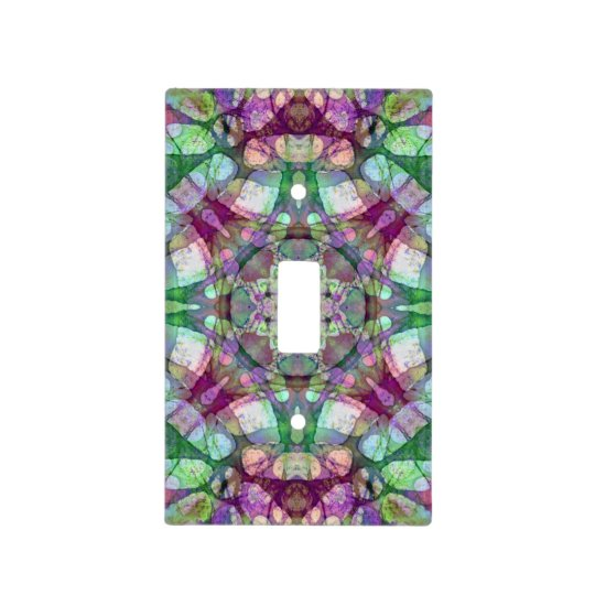 Purple and Green Lilac Dreams Mandala Kaleidoscope Light Switch Cover