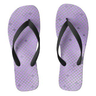 Purple and Green Mermaid Scales Flip Flops