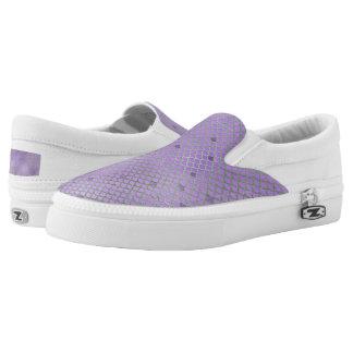 Purple and Green Mermaid Scales Slip-On Sneakers