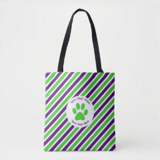 [Purple and Green] Narrow Stripes Tote Bag