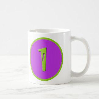Purple and Green One Year Birthday Toddler Cup Basic White Mug
