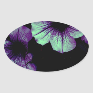 Purple and green oval sticker