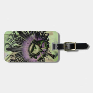 Purple and Green Passion Flower Bloom Luggage Tag