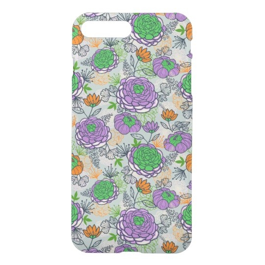 Purple And Green Peonies Floral Illustration iPhone 7 Plus Case