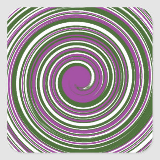 Purple and green pinwheel design stickers