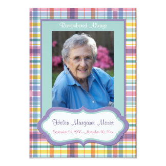 """Purple and Green Plaid Memorial Card with Photo 5"""" X 7"""" Invitation Card"""
