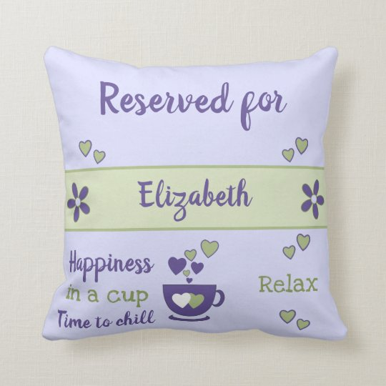 Purple and green relax coffee cup reserved for throw pillow