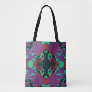 Purple and Green Retro Tote Bag