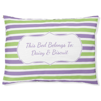 Purple and Green Stripe Monogram Pet Bed
