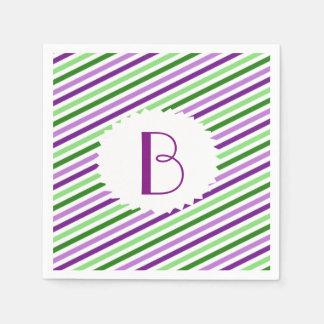 Purple and Green Striped Monogrammed Napkins Paper Napkin