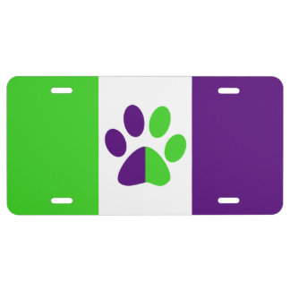 [Purple and Green] Stripes Color-Block License Plate