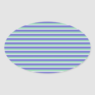 Purple and Green Stripes Pattern Oval Sticker