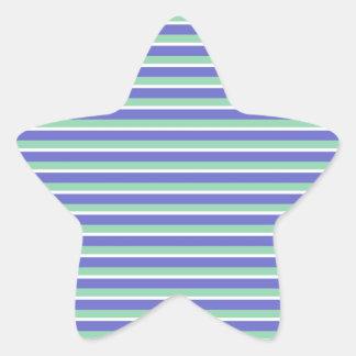 Purple and Green Stripes Pattern Star Sticker