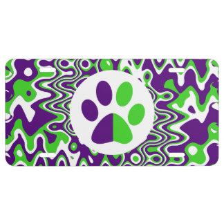 [Purple and Green] Swirled Op-Art License Plate