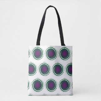 Purple and Green Swirling Circles Pattern on White Tote Bag