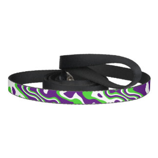 [Purple and Green] Swirls Op-Art Dog Lead