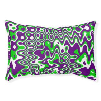 [Purple and Green] Swirls Op-Art Small Pet Bed