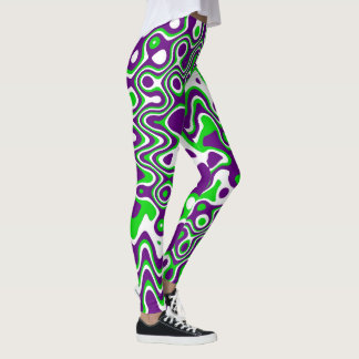 [Purple and Green] Swirls Op-Art Yoga Pants