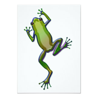 "Purple and Green Tree Frog 5"" X 7"" Invitation Card"