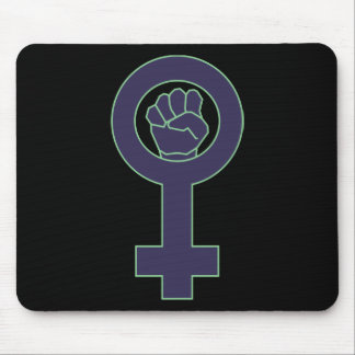 Purple and green venus mirror design mouse pad