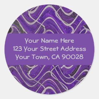 purple and grey address labels round sticker