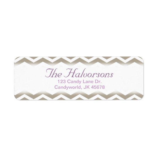 Purple and Grey Chevron Address Labels