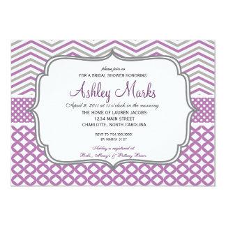 Purple and Grey Chevron Invitaiton Card