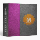 Purple and Grey Leather 3 Ring Binder