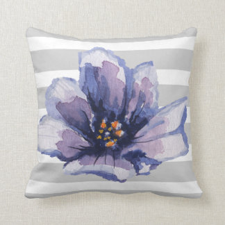 Purple and Grey Striped Watercolor Floral Pillow