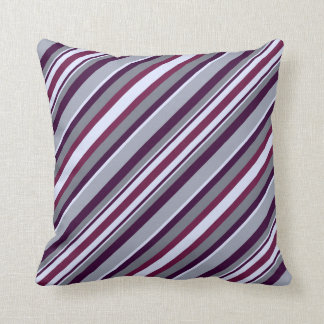 Purple and Grey Stripes Throw Pillow