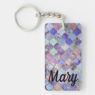 Purple and Grey Tones Mosaic Tiled Key Fob