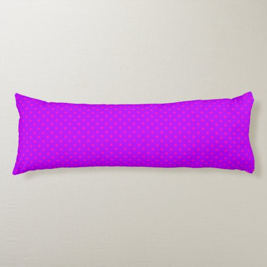 Purple and Hot Pink Polka Dots Pattern Body Pillow