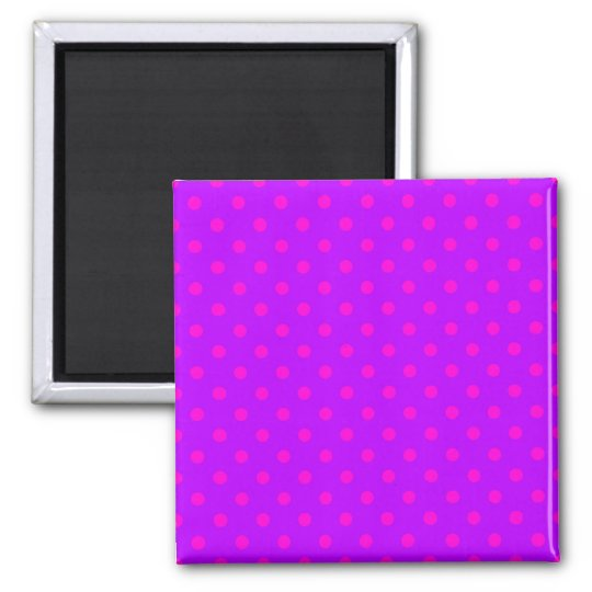 Purple and Hot Pink Polka Dots Pattern Magnet