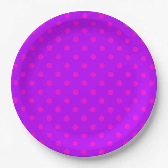 Purple and Hot Pink Polka Dots Pattern Paper Plate