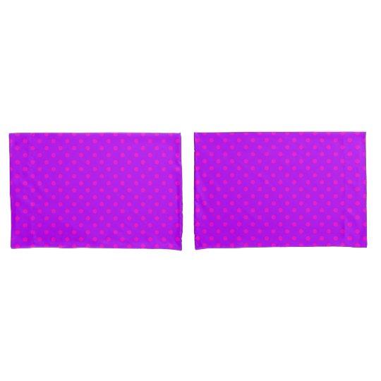 Purple and Hot Pink Polka Dots Pattern Pillowcase