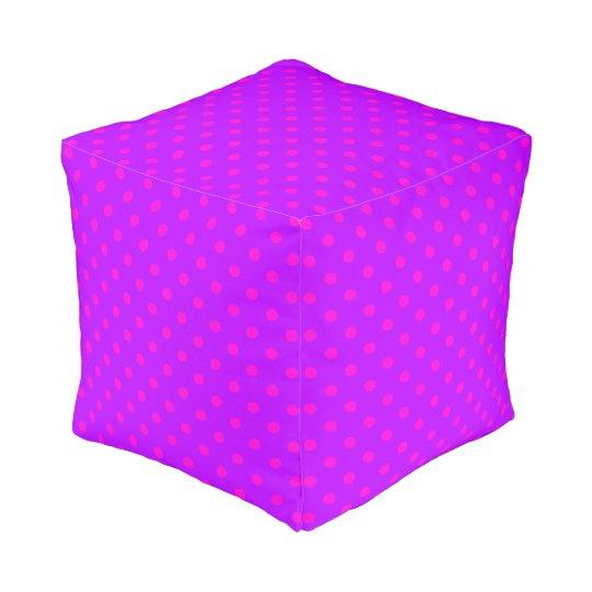 Purple and Hot Pink Polka Dots Pattern Pouf