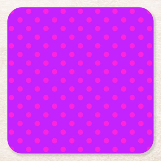 Purple and Hot Pink Polka Dots Pattern Square Paper Coaster