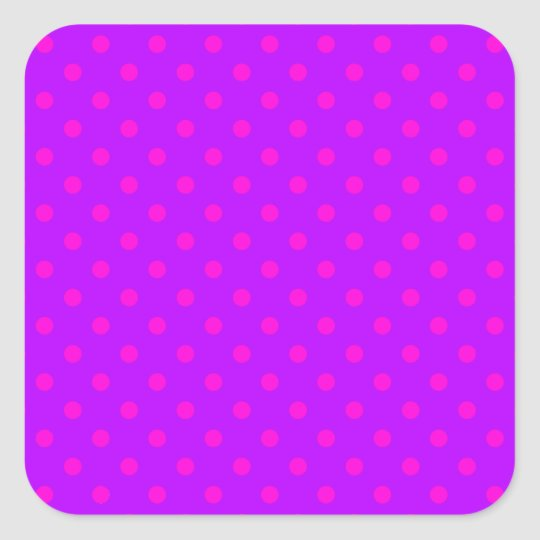Purple and Hot Pink Polka Dots Pattern Square Sticker