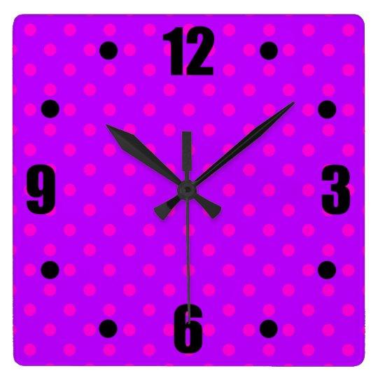 Purple and Hot Pink Polka Dots Pattern Square Wall Clock