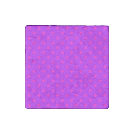 Purple and Hot Pink Polka Dots Pattern Stone Magnets