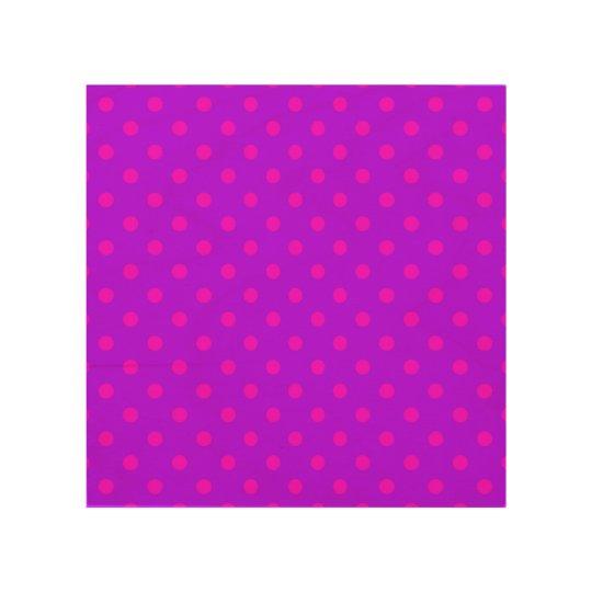 Purple and Hot Pink Polka Dots Pattern Wood Wall Art