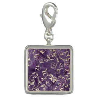 Purple and Ivory Scroll Charm
