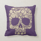 Purple and Ivory Sugar Skull Throw Pillow