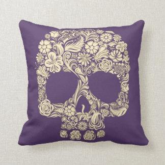 Purple and Ivory Sugar Skull Throw Pillow